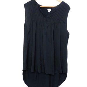 Merona Black Sleevless Half Button Blouse
